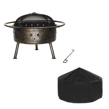 ALEKO Distressed Bronze Laser Cut Diamond Fire Pit with Poker and Cover
