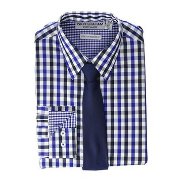 Nick Graham Gingham Contrast CVC Stretch Dress Shirt Tie Set (Navy) Men's Clothing