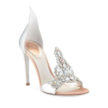 Embroidered Crystal Metallic Pumps