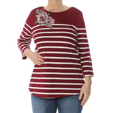 CHARTER CLUB Womens Burgundy Embroidered Striped Long Sleeve Jewel Neck Wear To Work Top Size: L