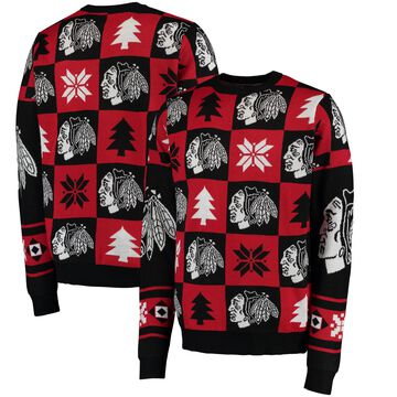 Chicago Blackhawks Klew Patches Ugly Sweater - Black