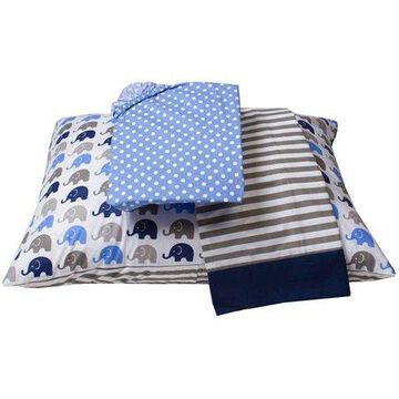 Bacati - Elephants 3-Piece 100% Cotton Percale Toddler Sheet Set, Blue/Gray