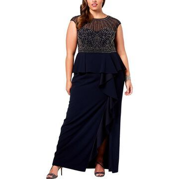 Xscape Womens Plus Evening Dress Embellished Ruffled