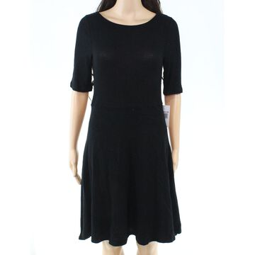 Three Dots Womens Dress Black Size Large L Sweater Ribbed Fit Flare