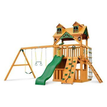 Malibu Clubhouse Swing Set With Amber Posts