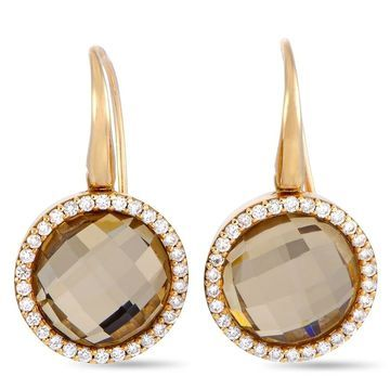 Roberto Coin Cocktail Rose Gold Diamond and Rutilated Quartz French Wire Earrings