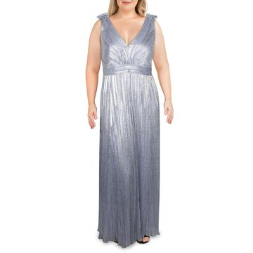 Xscape Womens Plus Formal Dress V-Neck Metallic - Royal Silver