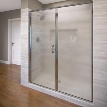 Basco Infinity 68.625-in H x 58-in to 59-in W Semi-Frameless Hinged Chrome Shower Door (Clear Glass) | 1413A-59XPSV