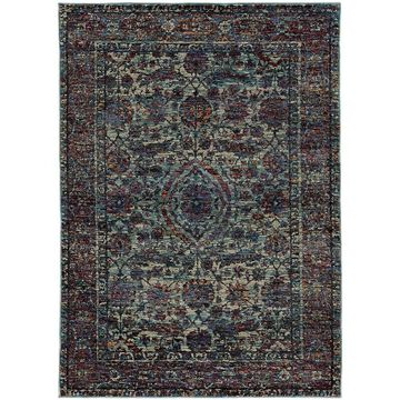 Bordered Floral Traditional Blue/Purple Area Rug - 6'7