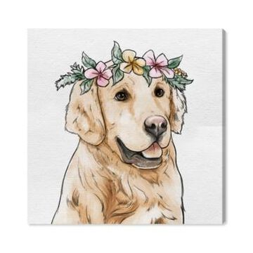 Oliver Gal Floral Crowned Golden Retriever Canvas Art - 12