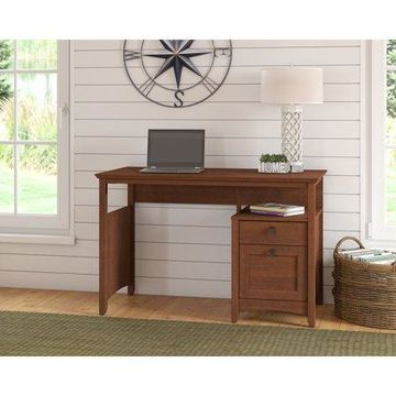 Bush Furniture Buena Vista Computer Desk with Drawers in Serene Cherry