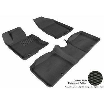 3D MAXpider 2012-2016 Hyundai Azera Front & Second Row Set All Weather Floor Liners in Black with Carbon Fiber Look