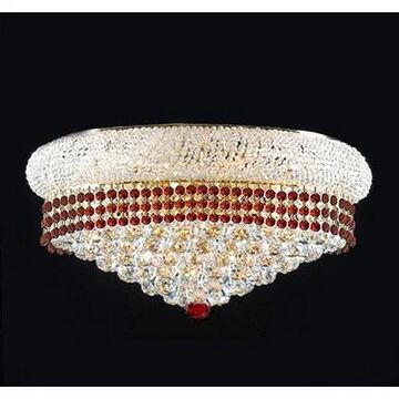 Flush French Empire Crystal Chandelier Lighting Trimmed with Ruby Red Crystal