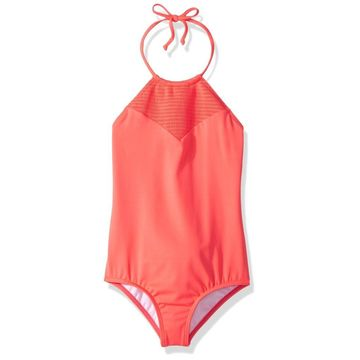 Billabong Pink Girl's Size 5 Sol Searcher One-Piece Halter Swimsuit
