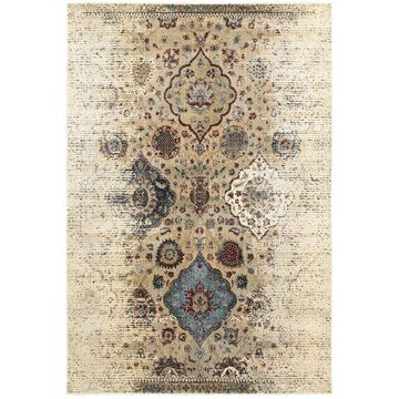 Style Haven Ivory/Blue Antiqued Floral Traditions Area Rug (9'10 x 12'10) - 9'10