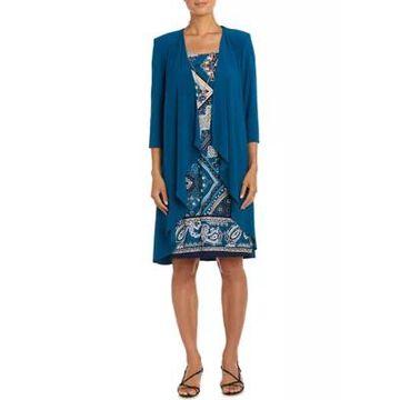 R & M Richards Women's Geometric Paisley Print Dress With Solid 3/4 Sleeve Jacket - 2 Piece Set -