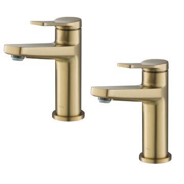 Kraus Indy Brushed Gold 1-Handle Single Hole WaterSense Bathroom Sink Faucet Stainless Steel | KBF-1401BG-2PK