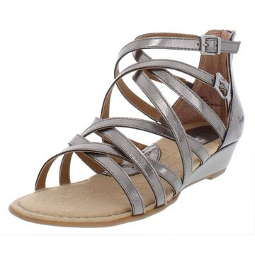 B.O.C. Womens Mimi Faux Leather Gladiator Wedge Sandals