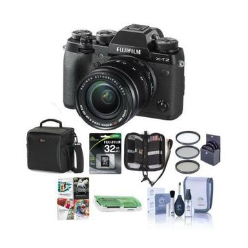 ''Fujifilm X-T2 Mirrorless with 18-55mm OIS Lens and Free Accessories, Black''