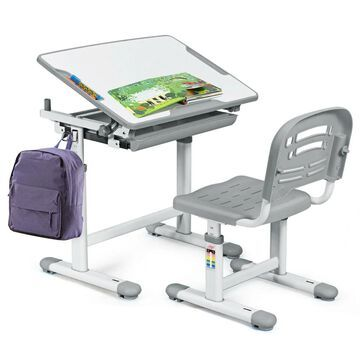Goplus 19.5-in Gray Modern/Contemporary Standing Desk with Chair | OGY01393