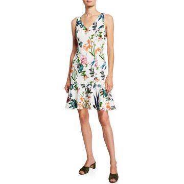 Floral Sleeveless Flounce-Hem Sheath Dress