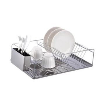 Home Basics Chrome Plated Steel Dish Rack with Tray