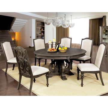 Furniture of America Leland Rustic Round Dining Set
