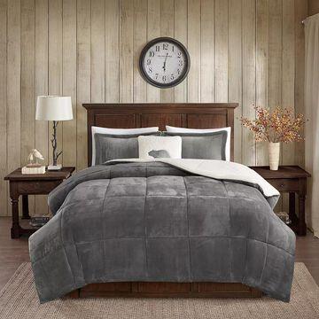 Woolrich Alton Plush to Sherpa Fleece Comforter Set, Dark Grey, Twin