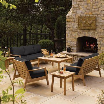 Oxford Garden Siena Natural Shorea Club Chair with Black Onyx Polyester Cushion