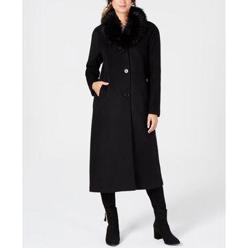 Faux-Fur-Collar Maxi Coat