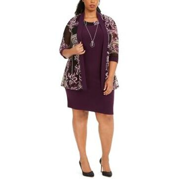 R & M Richards Plus Size Puff-Print Jacket, Dress & Necklace