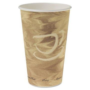 Dart Mistique Hot Paper Cups, 16oz, Brown, 50/Sleeve, 20 Sleeves/Carton -SCC316MS