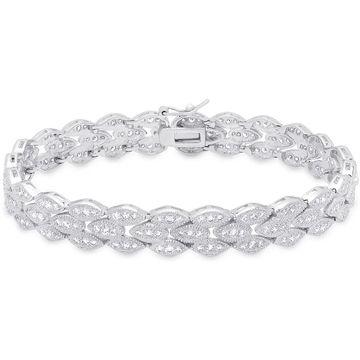 Dolce Giavonna Sterling Silver Cubic Zirconia Bracelet