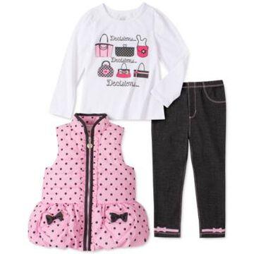Kids Headquarters Baby Girls 3-Pc. Dot-Print Puffer Vest, Graphic-Print T-Shirt & Jeggings Set