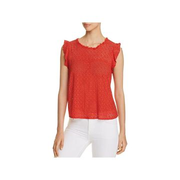 Three Dots Womens Casual Top Eyelet Flutter Sleeves
