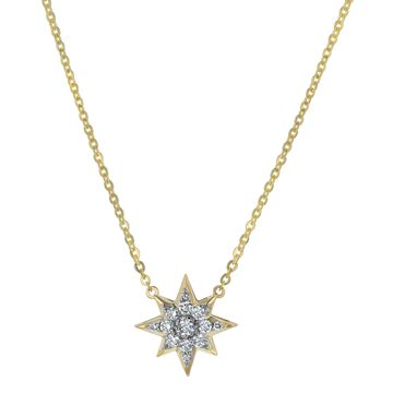 14k Yellow Gold 1/5ct. TDW Star Necklace by Beverly Hills Charm