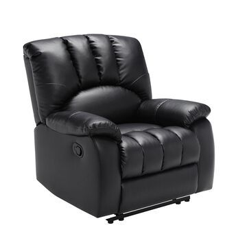 Mainstays Recliner with Pocketed Comfort Coils, Black Faux Leather