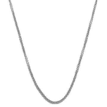 Fremada 14k White Gold Square Wheat Necklace