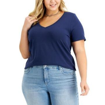 Inc International Concepts Plus Size Cotton V-Neck Top, Created for Macy's