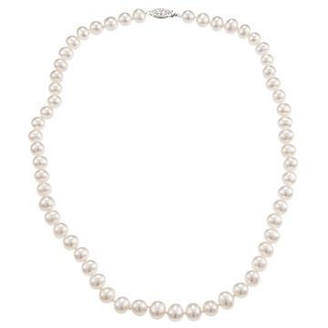 DaVonna Sterling Silver 7-8mm White Freshwater Pearl Necklace