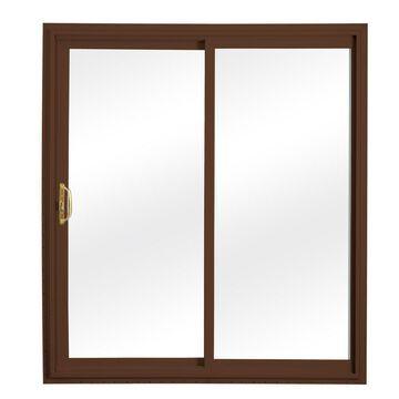 ReliaBilt Clear Glass Brown Vinyl Universal Reversible Double Door Sliding Patio Door (Common: 60-in x 80-in; Actual: 58.75-in x 79.5-in)