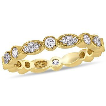 Miadora 14k Yellow Gold 1/2ct TDW Diamond Stackable Infinity Wedding Band