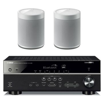 Yamaha RX-V485BL 5.1 Channel AV Network Receiver with WX-021WH MusicCast 20 Wireless Speakers - Pair (White)