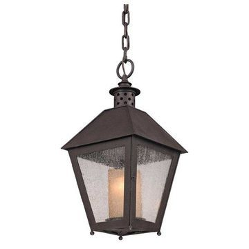Sagamore, Outdoor Pendant, Centennial Rust Finish & Clear, Amber Cylinder Glass