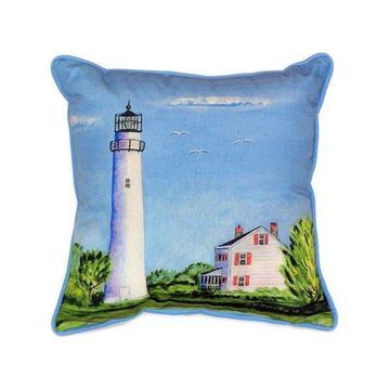 Pair of Betsy Drake Fenwick Island Light House Indoor / Outdoor Pillows