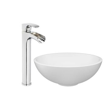 Jacuzzi Solid Surface Matte Solid Surface Vessel Round Bathroom Sink with Faucet (Drain Included)