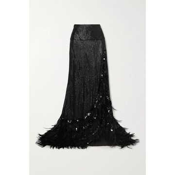 Dries Van Noten - Feather-trimmed Sequined Crepe Maxi Skirt - Black
