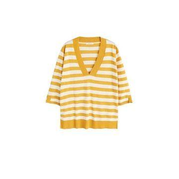 Violeta BY MANGO - Striped cotton-blend sweater yellow - XL - Plus sizes