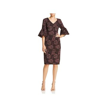 Aidan Mattox Womens Cocktail Dress Metallic Floral