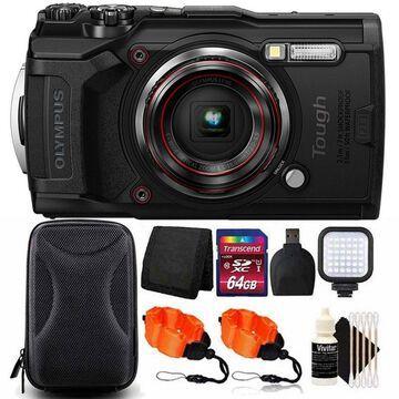 OLYMPUS Tough TG-6 Digital Camera Black with 64GB Card + Accessory Kit